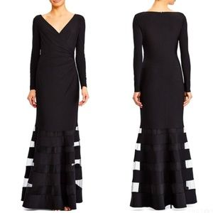Lauren Ralph Lauren Tulle Panel Jersey Gown Formal